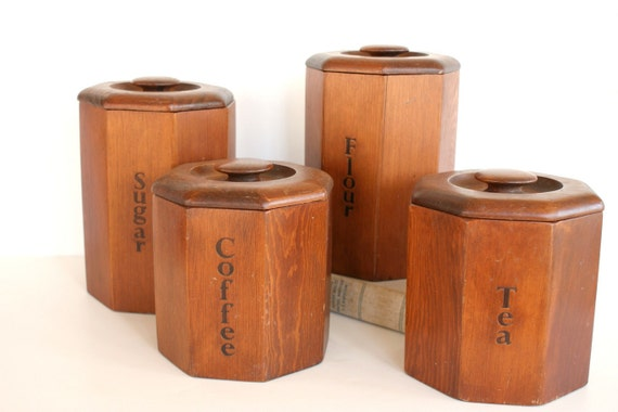 items similar to vintage wooden canister set coffee tea
