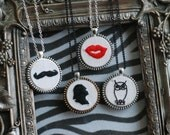 Hot Red Embroidery Lips Vintage Zipper Pendant Necklace