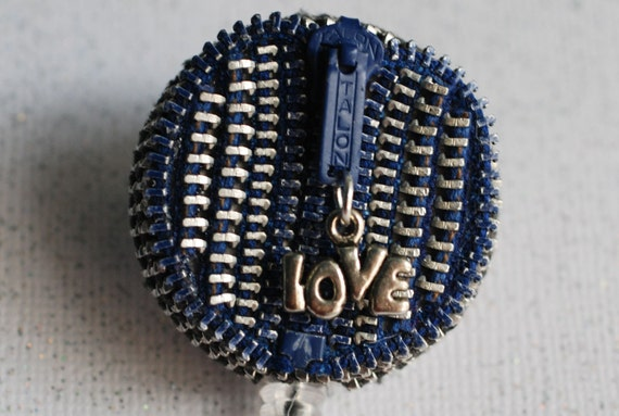 Blue Love Vintage Zipper ID Badge Reel