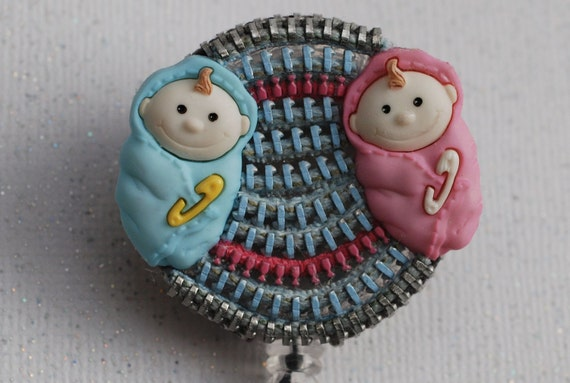 Twins For A Baby Nurse Vintage Zipper ID Badge Reel