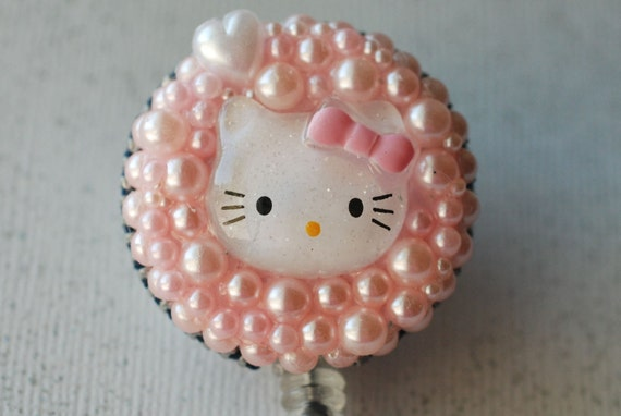 Hello Kitty In The Pink Vintage Zipper ID Badge Reel