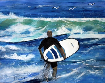 Jersey Shore Surfer -Original-SIGNED PRINTS 8 X 10 - 15.00, 11 x 14 - 25.00, 13 X 19- 35.00. Message me and I will list them for you.