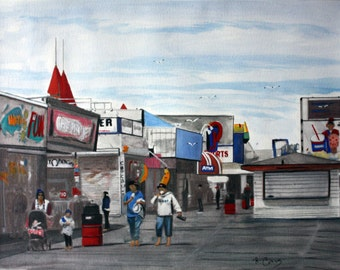 Barefoot on the Seaside Boardwalk -Original-SIGNED PRINTS 8 X 10 - 15.00, 11 x 14 - 25.00, 13 X 19- 35.00. Message me and I will list them .