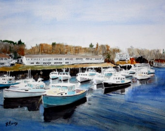 Lobster Boats-original watercolor SIGNED PRINTS 8 X 10 - 15.00, 11 x 14 - 25.00, 13 X 19- 35.00. Message me and I will list them for you.