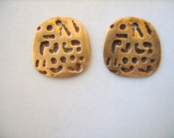Bronze Ancient Code Charm or Earring Findings Pair