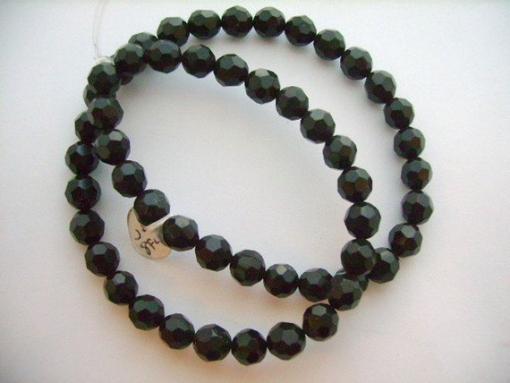 Genuine Organic Jet 8mm Faceted Beads Strand