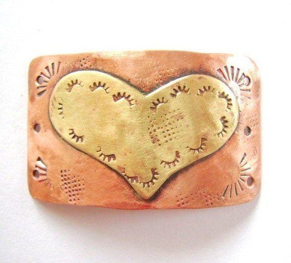 Artisan Heart Copper and Brass Bracelet LinkFinding