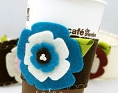 Coffee Cup Cozy - Turquoise on Chocolate