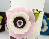 Coffee Cup Cozy - Pink on Vanilla