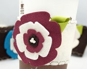 Coffee Cup Cozy - Burgundy on Vanilla