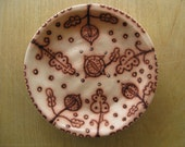 Floral Plate 4 inch circle made by Marcia Hovland
