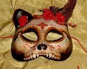 Dia de Los Muertos Kitty Cat Mask, Goth Cosplay LARP Halloween, Custom Made