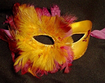 Feathered Empress in Gold and Pomegranate Mask, Halloween, Mardi Gras Costume