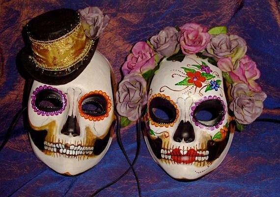 Wedding Dia de los Muertos Masks Adult Size