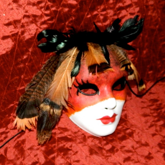 Mardi Gras Indian Native American Warrior Mask, Ladies Size