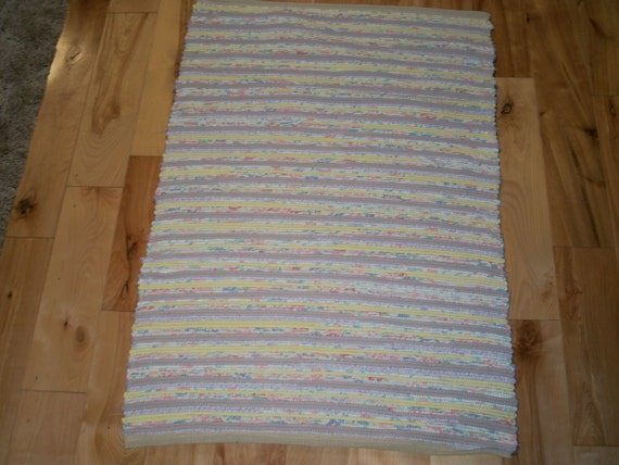 Rag Rug Lavender, Yellow, and Pink 34 inches Long Woven No Fringe