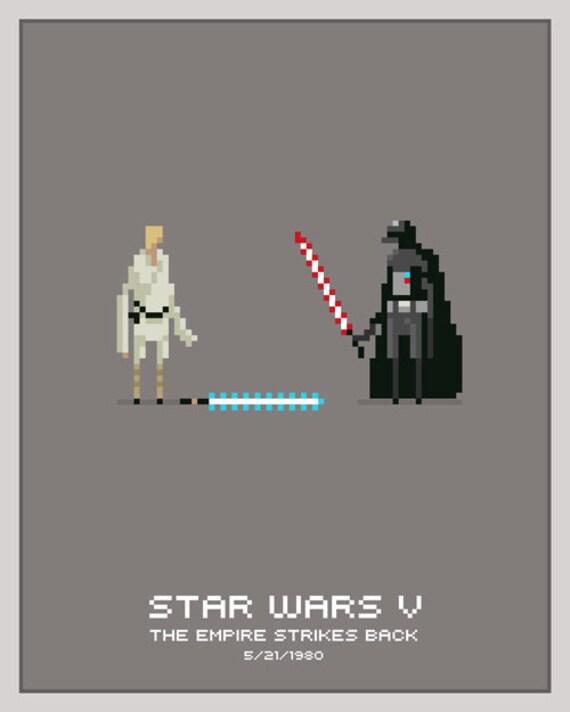 """Luke Vs. Vader 8""""x10"""" pixel poster print - Not Framed"""
