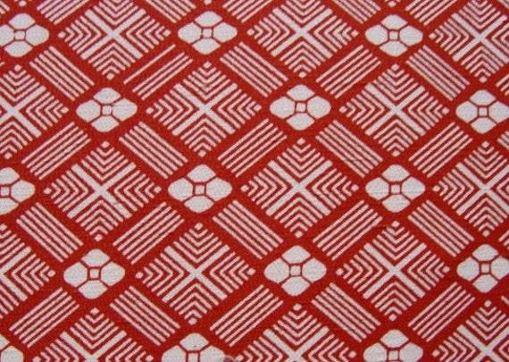 Vintage Japanese Silk Kimono Fabric Red Diamond And Floral