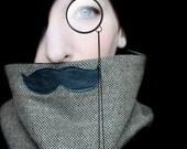 Mustache Scarf Cowl - English Professor Scarf Neckwarmer