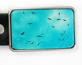 Belt Buckle Birds in Blue Sky FREE SHIPPING