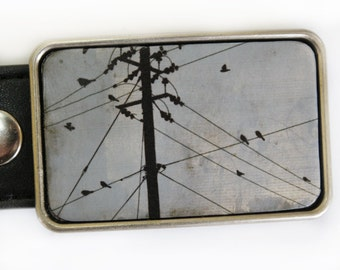 Birds on a Wire in Blue Belt Buckle