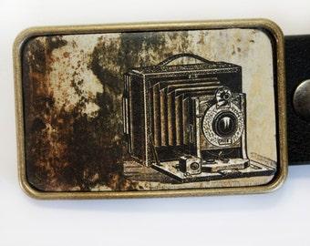 Vintage Camera Photographer Belt Buckle