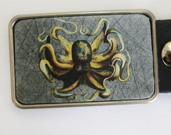 Belt Buckle with Vintage Octopus Nautical