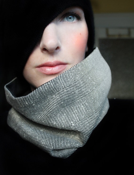 Oversized Black and White Tweed Cowl Scarf