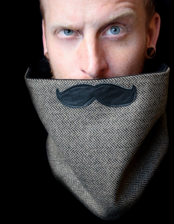 Mustache Scarf Cowl - English Professor Scarf Neckwarmer
