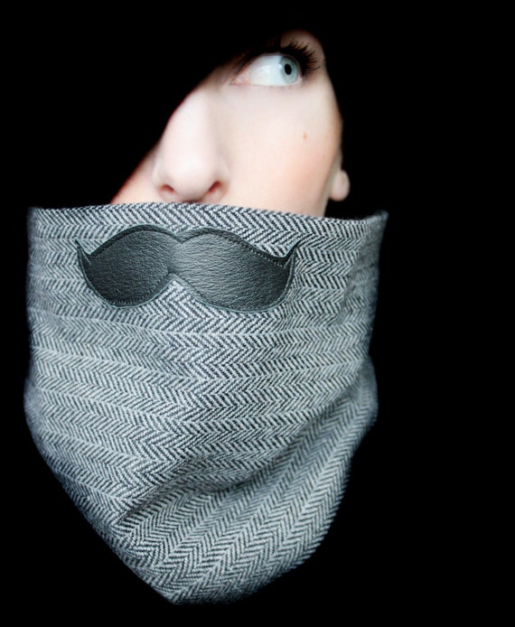 Mustache Clothing - Mustache Scarf in Black and White
