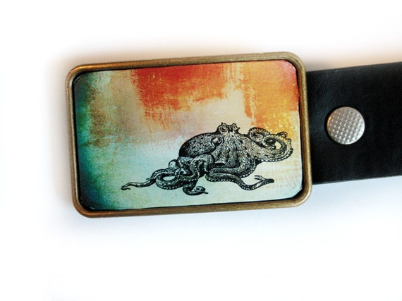 Belt Buckle Blue Octopus Nautical