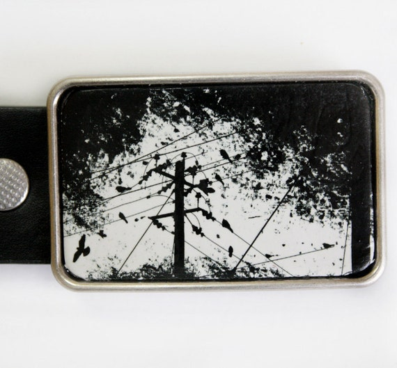 Black and White Birds on a Wire Belt Buckle