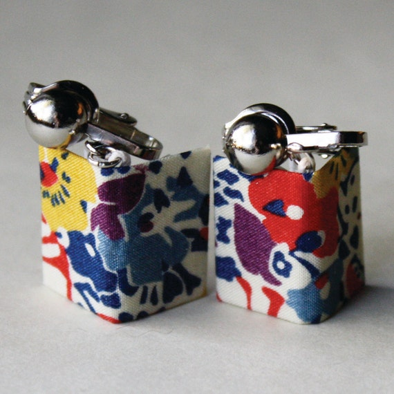 Playful Floral Liberty London Print Miniature Book Clip-On Earrings