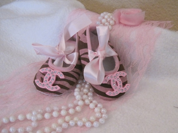 Items similar to Baby crib shoes Chanel inspired pink