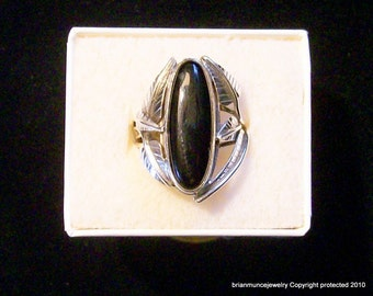 leaf ring in sterling with onynx