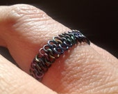 Multicolored Titanium Chainmaille Ring - MADE TO ORDER