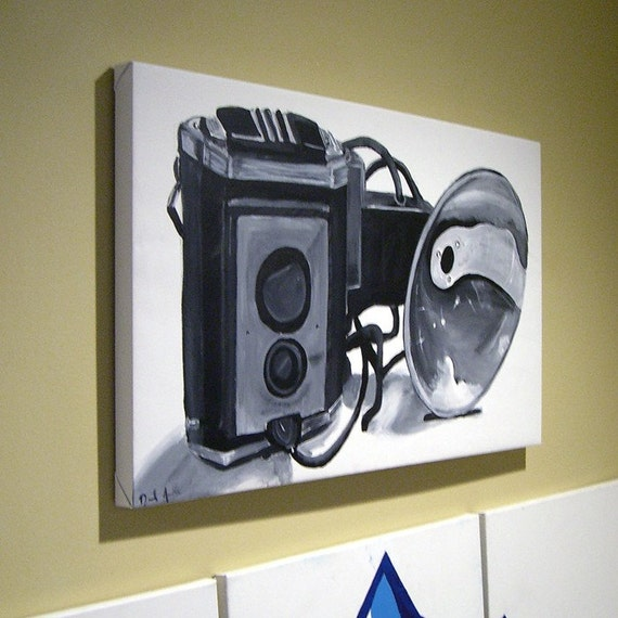 vintage camera . . . . large original acrylic painting on canvas