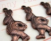 Copper Bunny Rabbit Charms - SIX