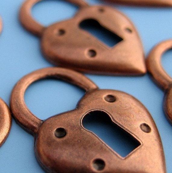 Copper Heart Locket Charm  - ONE DOZEN
