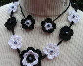 Crochet Flower Necklace,  Cotton Flowers and Pearls Black & White Lariat,  Wedding, Garden Party, Resort,  Safari Inspiration