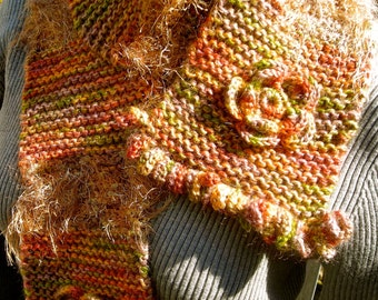 Knit Wool Scarf, Thick, Soft and Toasty Warm,  Flower Motif Unique Loop Fringes, Autumn Shades, Unique, Au Couture