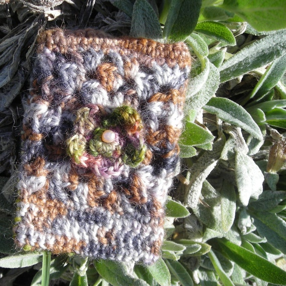 Crochet Cell Phone Case, Digital Camera Cover, MP3 Cozy, Floral Granny Square, Mohair & Wool, Women Teens, Gift Under 15.00