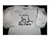 A Little New Yorker - Onesie - Embroidered - Fits 0-3 months - Long Sleeve with Mitten Cuffs