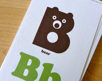 Animal Alphabet Flash Cards - 3x5 Printable PDF, green & brown