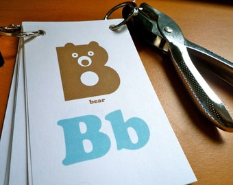 Blue & Brown Animal Alphabet Flash Cards - 3x5 Printable PDF