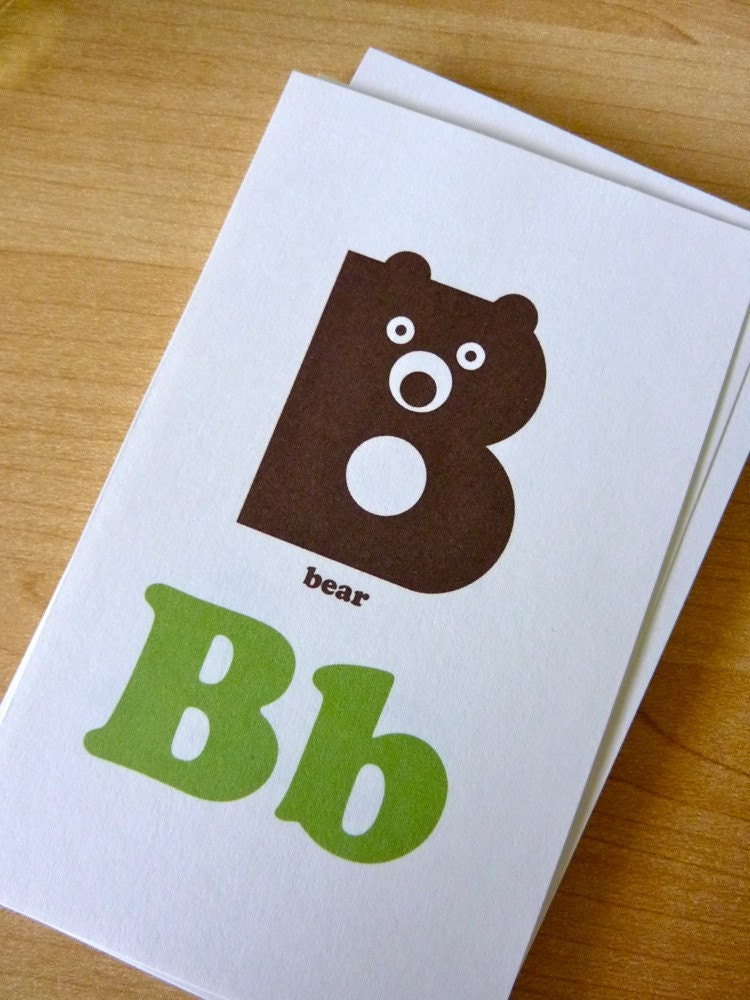 animal alphabet flash cards 3x5 printable pdf green  u0026 brown