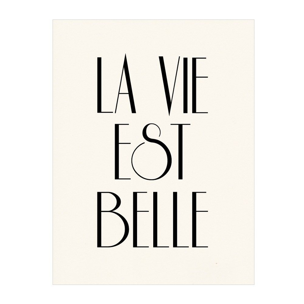 la vie est belle french poster print life is by nutmegaroo. Black Bedroom Furniture Sets. Home Design Ideas