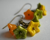 BUY TWO GET ONE FREE SALE Earings With Pumpkin Green and Yellow Day Lily Czech Glass In Antique Bronze Finish