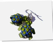 Lampwork turtles earrings