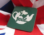 I love Tea Coaster, Green